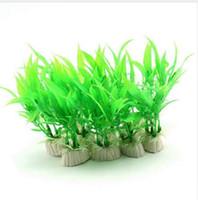 ingrosso decorazione della pianta di bambù-2 pezzi simulato foglie di bambù verde falso pianta erba artificiale acquario paesaggistica pesci serbatoio accessori decorazione della casa