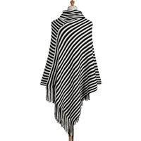 poncho sweater black white venda por atacado-SexeMara Ponchos Listrado Ponchos E Capes De Lona Longo Das Mulheres de Malha Cape Poncho Femme Senhoras V Pescoço Blusas PretoBranco