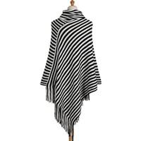 poncho pullover schwarz weiß großhandel-SexeMara Rollkragenpullover Gestreifte Ponchos Und Umhänge Lange Damen Strickpelz Poncho Damen Damen V-ausschnitt Pullover SchwarzWeiß