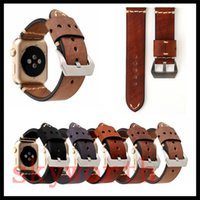 Wholesale classic leather band watches online - For Apple Watch Strap Bands Genuine Real Leather Straps Classic Retro Band mm With Adapter