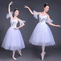 erwachsene schwan kostüm großhandel-Weißer Schwanensee Ballett Bühnenbekleidung Kostüme Erwachsene Romantische Platter Ballettkleid Mädchen Frauen Klassische Tutu Tanzabnutzung Anzug