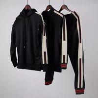 Wholesale Detachable Pants - Black Technical Jersey Logo Hoodie Men Sport Sweatshirt sleeves detachable Casual Women Zipper Jacket Hoodies band satin Pants tracksuit
