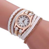 montre à main en cuir achat en gros de-Designer de luxe moins cher femmes montre à la main chaîne Weave Wrap autour de bracelet en cuir bracelet montre femme dames montre à quartz