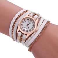 relógios de mão para as mulheres venda por atacado-Designer de luxo mais barato mulheres mão cadeia relógio tecer envoltório em torno de pulseira de couro pulseira de relógio de pulso das senhoras das mulheres relógio de quartzo