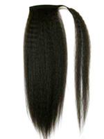 ingrosso avvolgere le estensioni dei capelli del ponytail-Capelli umani Coda di cavallo Kinky grossolani Posticci Capelli brasiliani vergini naturali soffiano crespi Yaki Straight Wrap Around Ponytails Estensioni dei capelli