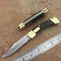 Wholesale carved knife wood - b110 pairs of folding knife one copper rivet black handle acid solid wood carve patterns or designs on woodwork section 440c upgrade version