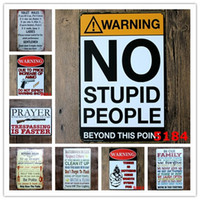 Wholesale vintage toilets - Warning No Stupid People Toilet Kitchen Bathroom Family Rules Bar Pub Cafe Home restaurant Decoratio Vintage Tin Signs Retro Metal tin Sign