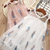 Wholesale Feathered Kids Clothes - NEW girls dress Kids Sleeveless Feather Embroidery boutique dress causal summer girl dress kids clothes high quality
