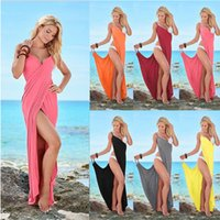 Wholesale Maxi Chiffon Maternity Dress - Women Bandage beach Boho Dress Split Deep V Neck Sleeveless dress Chiffon Long Maxi Sexy Plus Size dress 7colors FFA123 Maternity Dresses