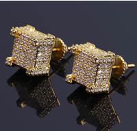 ingrosso orecchie a vite-Moda Vite indietro CZ Orecchini Stud Design del marchio di lusso di lusso Hiphop gioielli con strass oro argento rame trafitto Ear Stud gioielli