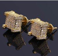 aretes llenos de oreja al por mayor-Tornillo de la manera back CZ Pendientes Stud Hombres Diseñador de la marca de Lujo Hiphop Joyería Completa de diamantes de Imitación de Oro Plata de Cobre Perforado Ear Stud Joyería