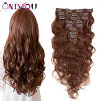 Wholesale brazilian body wave clip hair extensions online - Indian Virgin Body Wave Clip in Human Hair Extensions Brown Full Head Unprocessed Straight Remy Human Hair Clip ins Extensions pecs set