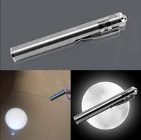 akrep pil toptan satış-Ay Şekli Işık Paslanmaz Çelik Mini El Feneri LED El Feneri Torch Odak Torch Lambası Fenerler LED Işıkları OOA4668