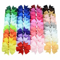 Wholesale fine leather accessories - 40 colors Six ears pure color fine rib fabric fishtail bowknot hair clip hair accessories children's headwear D0128