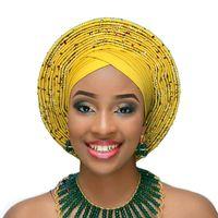 orange afrikanischen headtie großhandel-2018 Aso ok nigerian gele headtie bereits gemacht auto hele turban kappe afrikanische aso ebi gele oke headtie großen rand