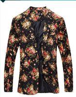 one button fitted blazer toptan satış-Erkek Kraliyet Kırmızı Çiçek Blazer Slim Gömme Parti Tek Göğüslü Blazers Erkekler Şarkıcılar Için Bir Düğme Takım Ceket Sahne Kostümleri