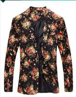 red party anzug großhandel-Mens Royal Red Floral Blazer Schlank Ausgestattet Party Einreiher Blazer Männer One Button Anzug Jacke Bühne Kostüme für Sänger