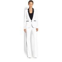 женские брюки оптовых-Куртка + брюки Женский деловой костюм белый женский офис равномерное дамы формальные брюки 2 шт костюм однобортный черный лацкан