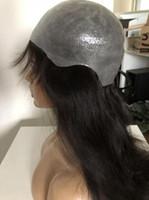 cabelo humano virgem direto chinês venda por atacado-Venda quente Completa PU Perucas 1B Cabelo Humano Virgem Chinês Reta De Seda Do Cabelo 20 polegadas Completa Peruca De Silicone Frete Grátis