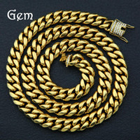 Wholesale man steel cast - Stainless steel Men Miami Cuban Chain Necklace Rhinestone Clasp Iced Out Gold Silver Hip hop Casting Punk Necklaces #HP81