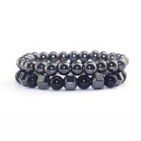 europa-perlen-art und weisearmband großhandel-Europa und amerika heißer verkauf 8mm schwarz perlen armbänder natürlichen obsidian stein männer armband modeschmuck