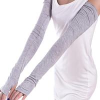 Wholesale Long Fingerless Gloves Girls - Women Girl Fashion Warm Arm Warmer Long Fingerless Gloves Cotton Sleeves