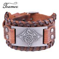 ingrosso monili del braccialetto del drago-Teamer Vintage Wicca Symbol Triqueta Dragon Charm Bracciali per uomo Black Brown Braid Leather Bracciali Cool Jewelry regolabile