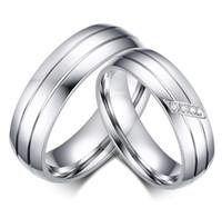 ingrosso anelli in titanio unici-2019 nuovi gioielli in argento inciso in acciaio al titanio di cristallo paio anelli per le donne uomini anello di fidanzamento di nozze gioielli regalo unico