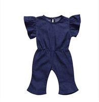 f93f0af4523b 2018 New Littler Girls jeans jumpsuits summer children falbala fly sleeve  one-piece overalls fashion toddler kids denim jumpsuits Y4191