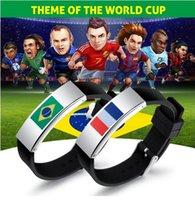 Wholesale Silicone Friendship Bracelet - 2018 World Cup jewelry New Fashion Ball Fans Wristband Black Punk Rubber Silicone Friendship flag Bracelets Pulseras Hombre Caucho PH1263