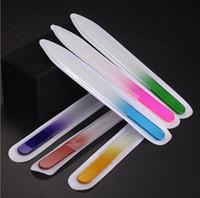 arquivo de moda venda por atacado-9 cm de Cristal Monocromático Lixa de unhas De Vidro Moda manicure Lixa de polimento Lixa de Prego Gradiente Nail Art Ferramentas KKA5004