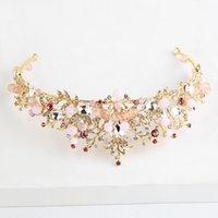 gelin giyen taç toptan satış-Moda Altın Barok Pembe Rhinestone Kristal Gelin Taç Düğün Headdress Taç Düğün Akşam Baş Aşınma