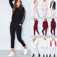 Wholesale Hoodies Pants Sports Wears - 2PCS Womens Sexy2017 Women Tracksuit Hoodies Sweatshirt Pants Sets Sport Wear Strip Casual Suit 6-16 5 Clour High Quality 100% Brand New