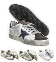 baskets en toile de coton achat en gros de-2017 Italie En Cuir Chaussures Sneakers Goldens Scarpe Donna Uomo Homme Femme Sneakers Francy Coton Toile Et Étoiles En Cuir