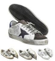 deri italya toptan satış-2017 İtalya Deri Ayakkabı Sneakers Altınları Scarpe Donna Uomo Homme Femme Sneakers Francy Pamuk Tuval Ve Deri Yıldız