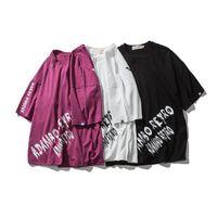 Wholesale vintage tee shirt designs - Summer Tee Vintage Brand Design Scrawl Letter Printed Kanye Fashion Half Sleeves Loose T shirt Cotton Top