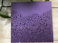 Wholesale bridal shower cards - Purple Elegant Laser Cut Wedding Invitations,Pocket Delicate Bridal Shower invitations,Birthday Invitations,Greeting Cards,Invite Card