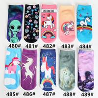 Wholesale Wholesale Colored Socks - Unicorn Emoji Animal Food 3D women Socks Hip Hop Odd Socks Christmas cat animal expression 3D digital printing tide socks 2018