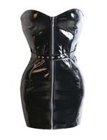 ingrosso vestito nero dal corsetto dalla fasciatura-Hot Sexy Black PVC Corsetto di pelle Dress Overbust Bodycon Bandage Mini Dress Gotic Punk Zipper con cintura anteriore Donna Night Clubwear