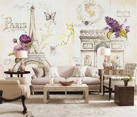 papier peint eiffel achat en gros de-Personnalisé Taille Photo 3D Paris Fer Tour Eiffel papier peint Château salon chambre restaurant Café mural papier peint