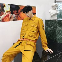 Wholesale dance clothing hop online - Male Overalls Couple Stage Dancing Clothes Jumpsuit Trousers Men High Street Hip Hop Yellow Pink Casual Jumpsuit Cargo Pant