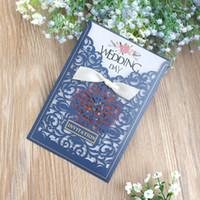 carte z achat en gros de-Marine Bleu Invitations De Mariage Carte Creux Art Bronzant Haut Niveau Cartes De Voeux Pour Se Marier Romantique Outil Top Qualité 1 18cf Z