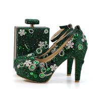 d5f8f8733 2018 Handmade Verde Esmeralda Rhinestone Sapatos de Casamento com Saco de  Harmonização Moda Salto Grosso Prom Party Shoes Tira No Tornozelo com Purs
