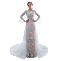 Wholesale special occasion dress designers online - Real Image New Illusion Lace Appliques Prom Dresses O Neck Long Sleeve A Line Sweep Train Formal Evening Occasion Dresses Custom Made