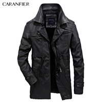 Wholesale Vintage Leather Trench - CARANFIER New Brand Winter Men's Leather Jackets Casual Men Vintage Motorcycle PU Faux Jacket Male Trench Coats Youth Clothing