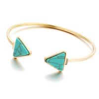 brazalete de amor al por mayor-Breve triángulo turquesa colgante diseñador pulsera para mujeres brazaletes de joyería de acero inoxidable de lujo amor Bracciali día de las madres regalos