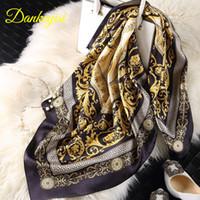 Wholesale big square silk scarves - [DANKEYISI] Brand Designer Summer Scarves Women 100% Silk Scarf Luxury Brand Scarves Shawl Hijab Big Square 90*90cm