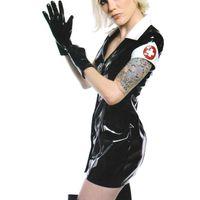 pvc lederne knechtschaft großhandel-Schwarzes PVC Kleid Vinyl Latex Sexy Catsuit Kostüm PU Leder Dessous Catwoman Bondage Clubwear Kleidung Halloween Krankenschwester Cosplay