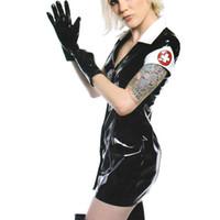 ropa de latex negro al por mayor-Vestido de PVC negro de vinilo de látex traje sexy traje de cuero de la PU lencería Catwoman Bondage Clubwear ropa de Halloween enfermera Cosplay