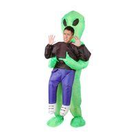 grünes dinosauriermaskottchen großhandel-Aufblasbare Monster Kostüm Scary Green Alien Dinosaurier Maskottchen Cosplay Kostüm für Erwachsene Tier Halloween Purim Party